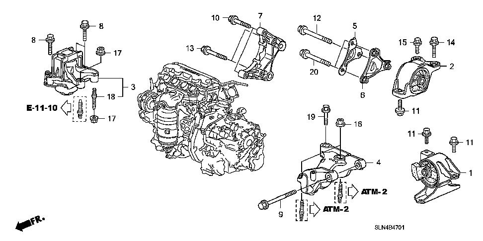 soportes de motor y caja honda fit